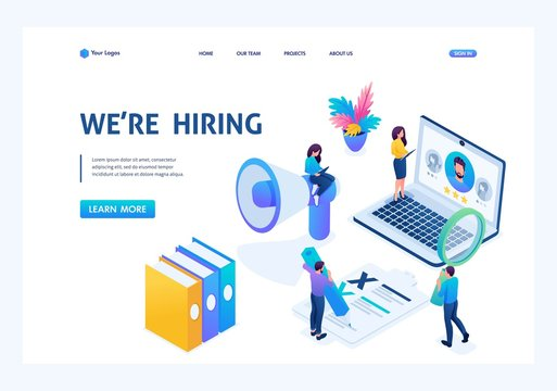 Isometric HR Manager, we hire employees to our company, recruiting concept. Landing page concepts and web design