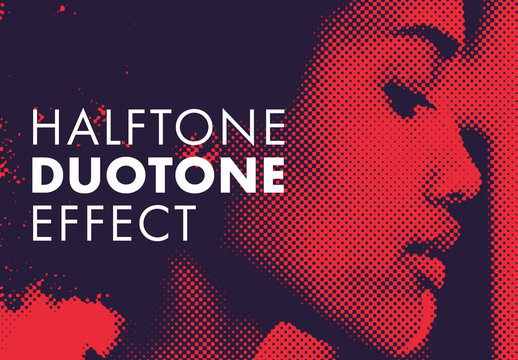 Duotone Effect with Halftone Pattern