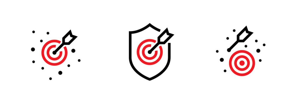 Set of the On Goal, Off the Aim and Hit Shield Targets icons. Editable line vector.