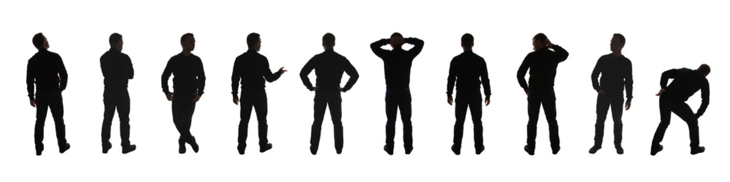 Silhouette photo of a standing men poses isolated