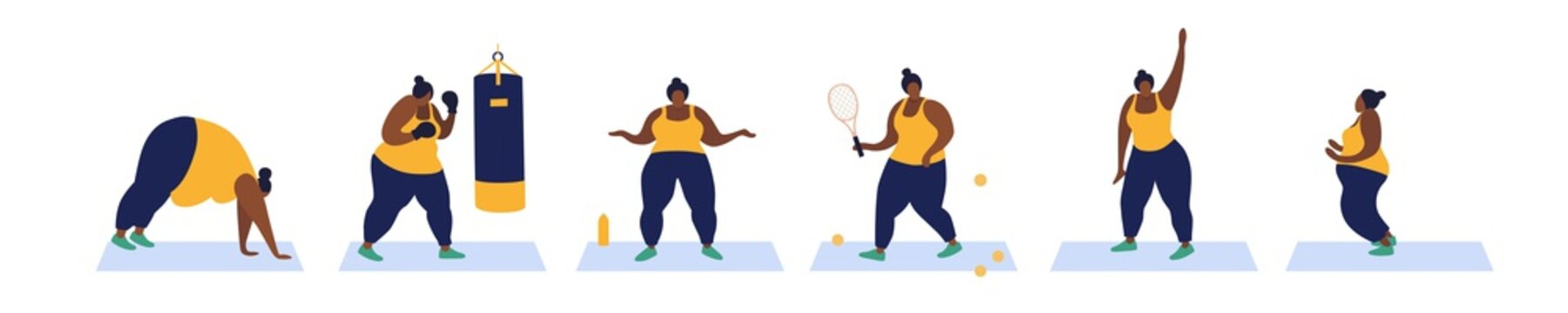 Collection of exercise for weight loss. A full-bodied African American woman is engaged in various sports. Overweight problems. Vector flat illustration on white isolated background.