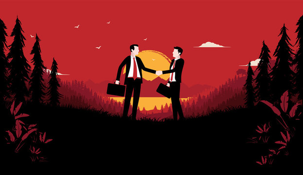 Shady deal in a secret place. Two businessmen shaking hands with briefcases alone in forest a late evening. Blood red sky and sunset in background. Corrupt business concept. Vector illustration.