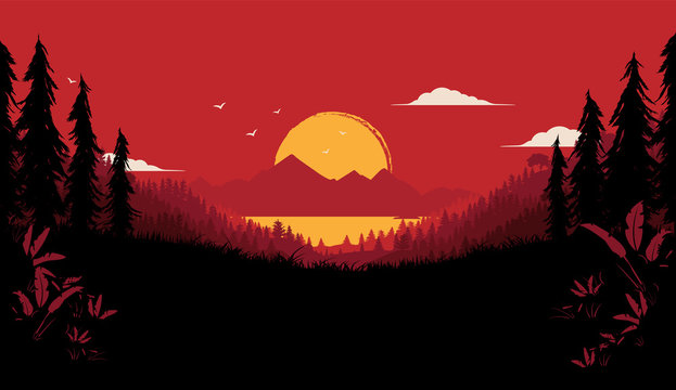 Wilderness vector illustration - dramatic nature background with big sunset, forest and view of sea and mountains. Dark and red colours.