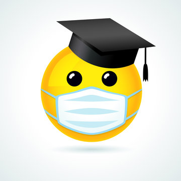 Emoji smile in academic cap & medical guard mouth mask. Yellow smiling emoticon wearing a white surgical mask. Vector joy icon