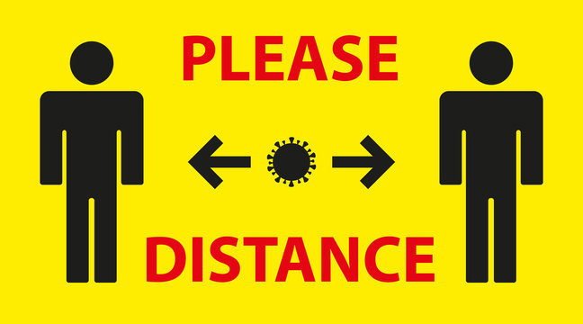 yellow warning sign reminding you of the importance of maintaining distance between people to protect against Coronavirus or Covid-19. Providing safe social distance. Vector illustration