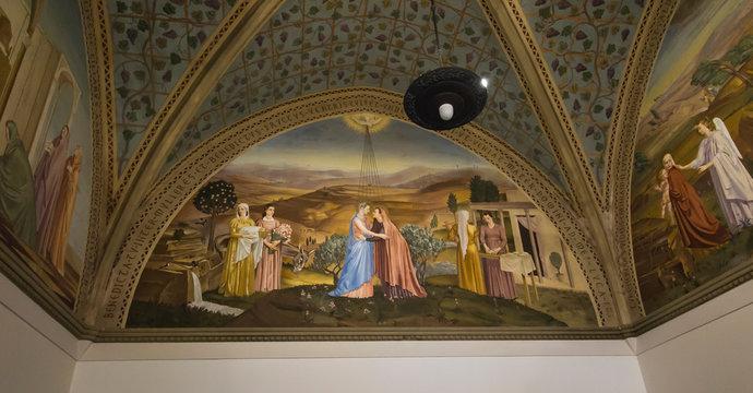 Ein Karem, Jerusalem, Israel, January 29, 2020: Fresco depicting the meeting of Mary with Elizabeth at the Sanctuary of the Visitation in En Kerem