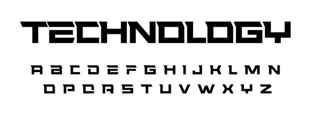 Fotomurales - Geometric simple font, thick straight square letters, trendy font with spurs. Vector font set for technology, sport, architecture themes. Vector typography