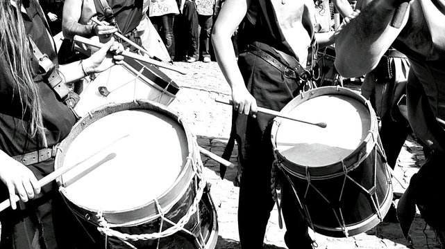 People Playing Drums In Parade