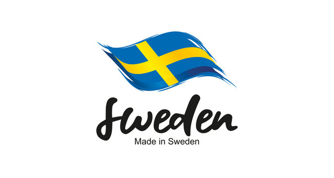 Made in Sweden handwritten flag ribbon typography lettering logo label banner
