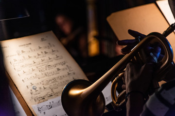 música, instrumento, libro, trompeta, músico, banda, jazz, instrumentos de viento metal, orquesta, musical, violín, papel, juego, trombón, house of god, mano, partitura, concierto, partitura Wall mural