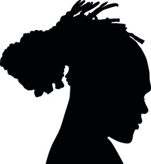 Black Men African American, African profile picture silhouette. Man from the side with afroharren. Dreadlocks hairstyle, afro hair.