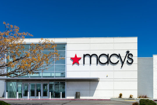 Victorville, CA / USA – April 13, 2020: Exterior of Macy's department store, anchor store for the Mall of Victor Valley in Victorville, CA.