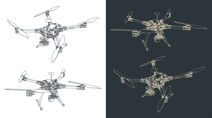 Quadrocopter scout illustrations Wall mural
