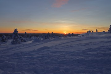 Low sun on the horizon of wintry Lapland