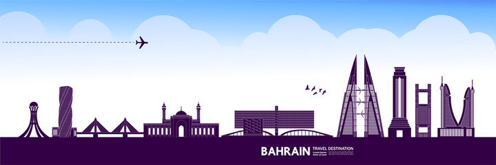 Fotomurales - Bahrain travel destination grand vector illustration.