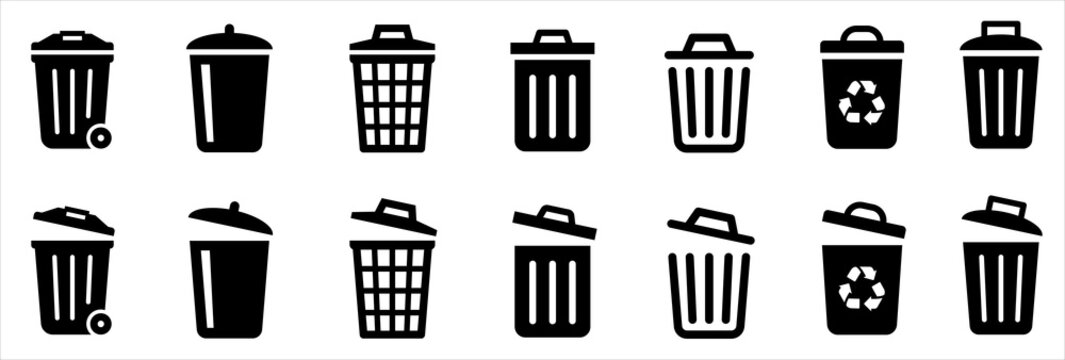 Bin icon set. Trash can collection. Trash icons set. Web icon, delete button. Delete symbol flat style on white background - stock vector.