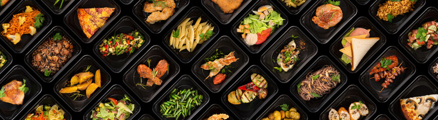 Collection of black plastic take away boxes with healthy food. Set of containers with everyday meals - meat, vegetables and law fat snacks on black background Fotomurales