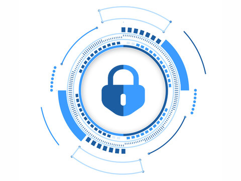security lock icon creative hand-painted web network security logo