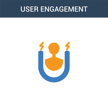 two colored user engagement concept vector icon. 2 color user engagement vector illustration. isolated blue and orange eps icon on white background.