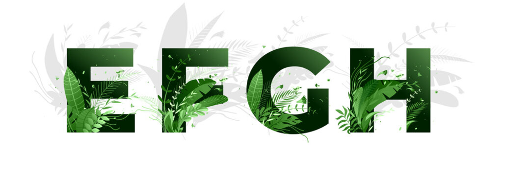 Vector illustration. Flower font alphabet e,f,g,h. Green letters and elements of nature, branches leaves and birds