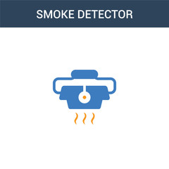 two colored smoke detector concept vector icon. 2 color smoke detector vector illustration. isolated blue and orange eps icon on white background.