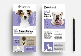 Purple Flyer Layout for Dog Walking and Puppy School