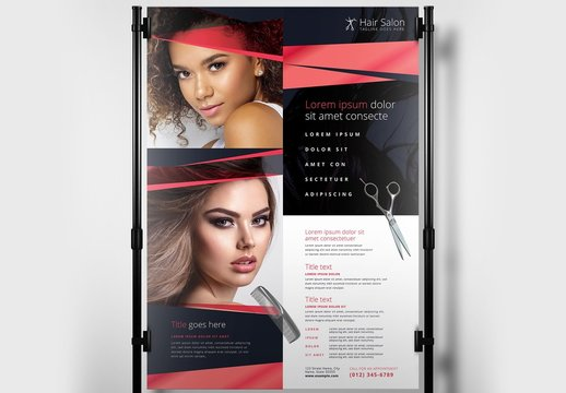 Pink and Blue Hair Salon Banner or Poster Layout
