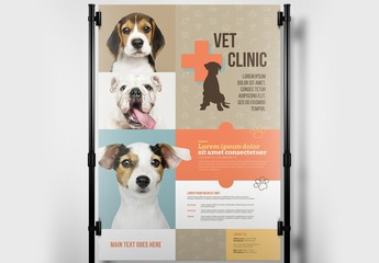 Veterinary Clinic Banner Layout with Paw Print Illustrations
