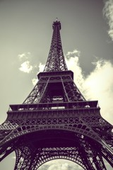 Close-up Low Angle View Of Eiffel Tower