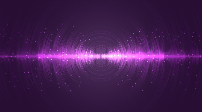 Sound wave neon flash lines in white and purple on gradient background