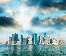 Wall Mural - Lower Manhattan buildings and East River reflections, New York City, USA