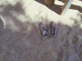 High Angle View Of Shoes On Beach Wall mural