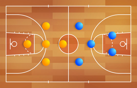 Basketball court with a tactical scheme of the arrangement of players of two basket teams on the playground, plan of a game diagram for a fantasy league coach board