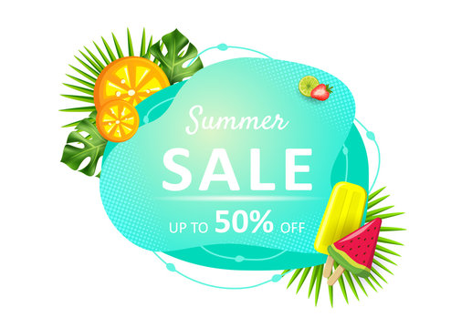 Summer sale liquid colorful banner. Labels with tropical leaves, flower plumeria, flamingo, liquid geometric shape. Template for poster, web, invitation, flyer. Vector illustration.
