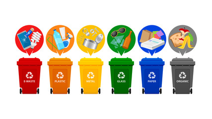 recycle bin types, garbage sort e-waste, plastic waste, metal, glass, paper and organic waste, front view set of plastic rubbish bin for recycling different types waste, garbage bins isolated on white