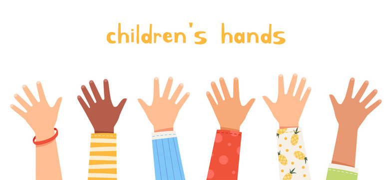 Set children's hands raised up. Children of different nationalities wave their hands. Friendship and happy childhood concept