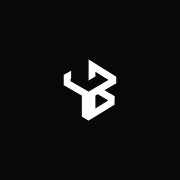 Minimal elegant monogram art logo. Outstanding professional trendy awesome artistic YB BY initial based Alphabet icon logo. Premium Business logo White color on black background