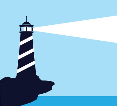 lighthouse in the edge of beach shine its light far way to the sea for poster and vector design illustration