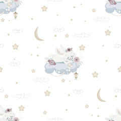 Seamless background with sleeping bunny on cloud