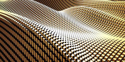 Luxury golden background. Gold glossy cubes array Fotoväggar