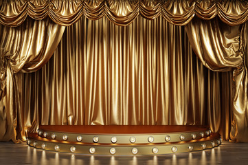 Empty theater stage with golden curtains. 3d illustration - fototapety na wymiar