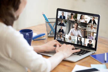 On laptop screen web cam view diverse age and ethnicity businesspeople taking part at group...