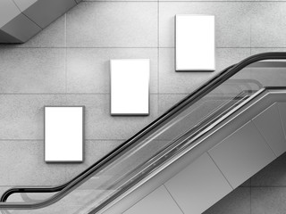 Side view of escalator on wall background with three blank light box. 3D rendering.