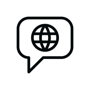 Foreign language talk bubble isolated icon, international communication linear vector icon