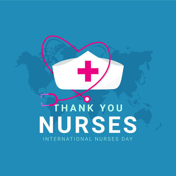 Thank you nurses design template. Happy international nurses day celebrations. Design for banner, greeting cards or print.