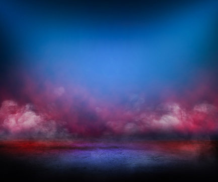 concrete floor and red smoke background