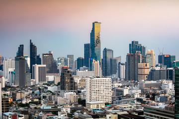 Bangkok city skyline at sunset, Thailand