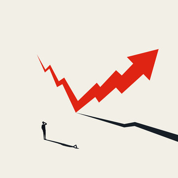 Financial markets recovery vector concept with arrow rising after fall. Symbol of hope, success and growth.