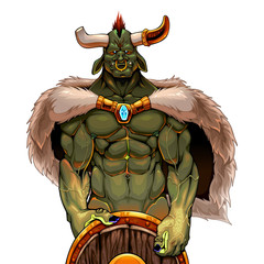 Warrior ogre holding the shield