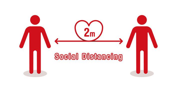 ソーシャルディスタンス(2m):Simple vector illustration of heartful social distancing(2m)